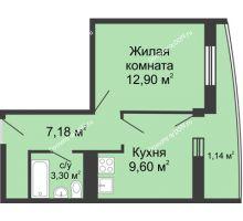 1 комнатная квартира 34,06 м² - ЖК Центральный-2