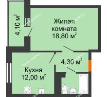 1 комнатная квартира 41,1 м² в ЖК Я, дом  Литер 2 - планировка