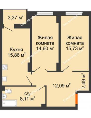 2 комнатная квартира 70,57 м² в ЖК Аврора, дом № 3