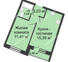 1 комнатная квартира 34,34 м² в ЖК Ватсон, дом № 5 - планировка