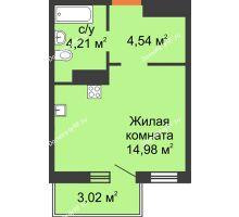 Студия 24,64 м² в ЖК Светлоград, дом Литер 22 - планировка