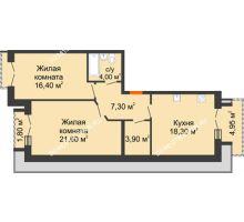 2 комнатная квартира 74,88 м², Жилой дом: г. Дзержинск, ул. Кирова, д.12 - планировка