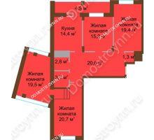 4 комнатная квартира 121,9 м² в ЖК Монолит, дом № 89, корп. 1, 2 - планировка