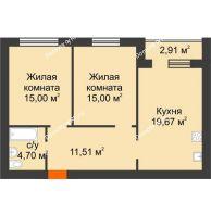 2 комнатная квартира 67,34 м² в Микрорайон Дон, дом ул Генерала Круковского, д. 1 - планировка