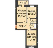 2 комнатная квартира 51,4 м², Жилой дом по ул. Львовская, 33а - планировка