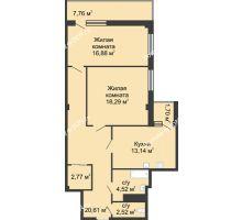 2 комнатная квартира 80,1 м² в  ЖК РИИЖТский Уют, дом Секция 1-2 - планировка