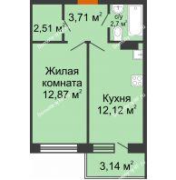 1 комнатная квартира 35,52 м² в ЖК Мандарин, дом 2 позиция 5-8 секция - планировка