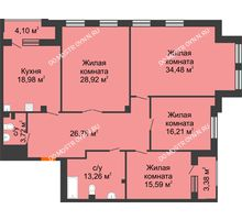 4 комнатная квартира 161,68 м², Дом премиум-класса Коллекция - планировка