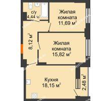 2 комнатная квартира 59,46 м², ЖК КМ Флагман - планировка