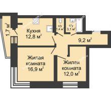 2 комнатная квартира 56,7 м² в ЖК Династия, дом Литер 1 - планировка