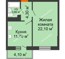 1 комнатная квартира 43,7 м² в ЖК Я, дом  Литер 2 - планировка