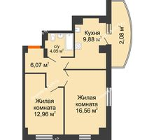 2 комнатная квартира 51,41 м² в ЖК Университетский 137, дом Секция С1 - планировка
