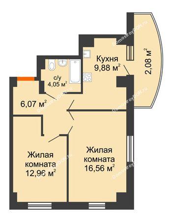 2 комнатная квартира 56,25 м² в ЖК Университетский 137, дом Секция С1