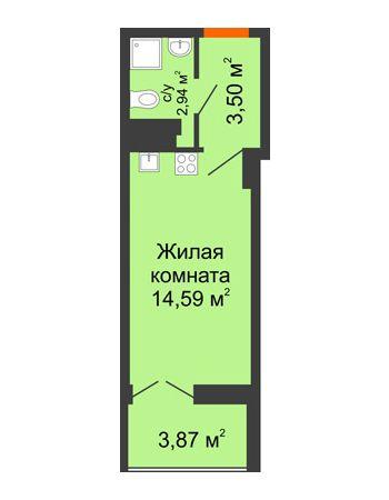 Студия 22,97 м² в ЖК Аврора, дом № 3