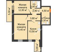2 комнатная квартира 66,8 м² в ЖК Шестое чувство, дом 2 очередь 3 позиция - планировка