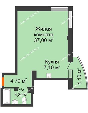 1 комнатная квартира 54,8 м² - ЖК Южная Башня