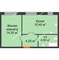 1 комнатная квартира 38,7 м² в ЖК Куйбышев, дом № 3 - планировка