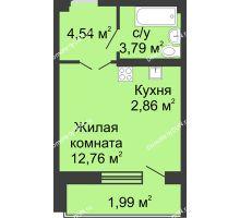 Студия 28,51 м² в ЖК Соловьиная роща, дом № 7 - планировка