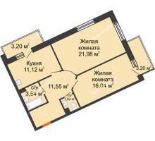2 комнатная квартира 65,75 м² в ЖК Новый Академгородок, дом № 2 - планировка
