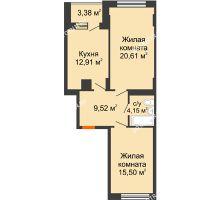 2 комнатная квартира 64,48 м², ЖД Весна - планировка