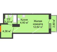 Студия 27,41 м² в ЖК Рассвет, дом №8 - планировка