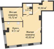 2 комнатная квартира 85,02 м², ЖК Гранд Панорама - планировка