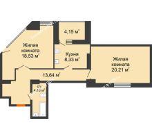 2 комнатная квартира 68,45 м², ЖК Максим Горький - планировка