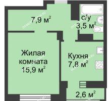 1 комнатная квартира 36,4 м² в ЖК Аквамарин, дом №2