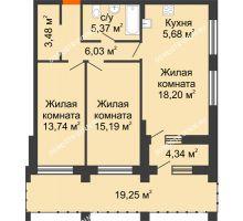 2 комнатная квартира 75,64 м² в ЖК Дом на Набережной, дом № 1 - планировка