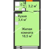 Студия 27,6 м² в ЖК Новая Кузнечиха, дом № 15 - планировка