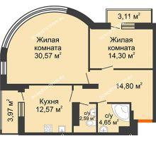 2 комнатная квартира 83,02 м², ЖК Командор - планировка