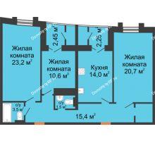 3 комнатная квартира 96,85 м², ЖК 230 футов - планировка