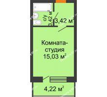 Студия 23,98 м² в ЖК Мандарин, дом 2 позиция 9,10 секция - планировка