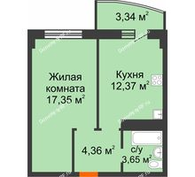 1 комнатная квартира 41,07 м² в ЖК Нива, дом №37 - планировка
