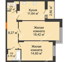 2 комнатная квартира 60,38 м² в Макрорайон Амград, дом №1 - планировка