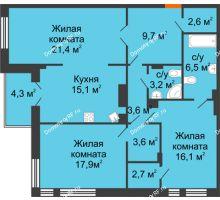 3 комнатная квартира 104,5 м² в Клубный дом Лобачевский, дом № 1 - планировка