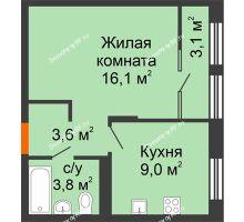 1 комнатная квартира 35,6 м² в ЖК Андерсен парк, дом ГП-2 - планировка
