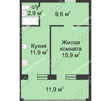 1 комнатная квартира 52,9 м² в ЖК Славянский квартал, дом № 188 - планировка