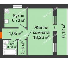 1 комнатная квартира 37,79 м², ЖК Дом у озера - планировка
