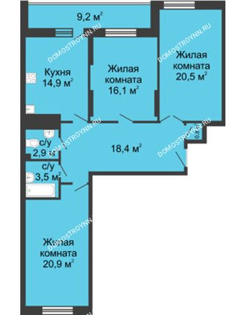 3 комнатная квартира 107,2 м² в ЖК Монолит, дом № 89, корп. 3
