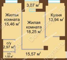 2 комнатная квартира 68,9 м² - ЖК Грани
