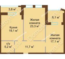 2 комнатная квартира 81,3 м², Жилой дом: ул. Почаинская д. 33 - планировка