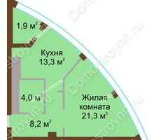 1 комнатная квартира 48,7 м² в ЖК Монолит, дом № 89, корп. 1, 2