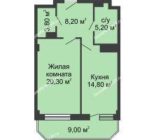 1 комнатная квартира 54 м², ЖК Крылья Ростова - планировка