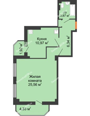 1 комнатная квартира 53,35 м² - ЖК Гармония