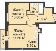 2 комнатная квартира 39,68 м² - ЖК Каскад на Волжской
