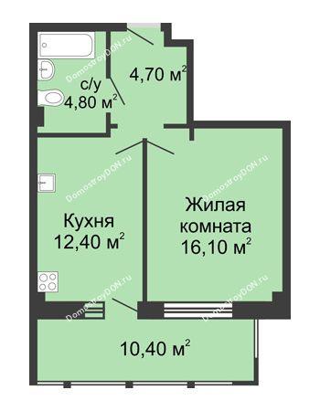1 комнатная квартира 48,4 м² в ЖК Мега, дом № 2