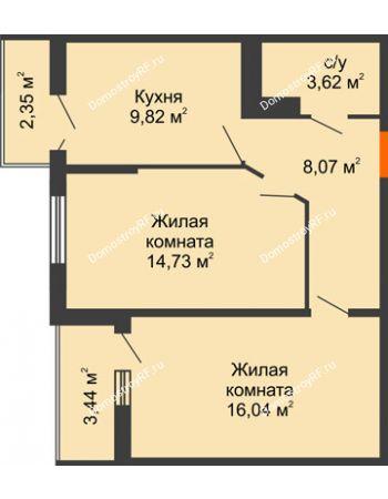 2 комнатная квартира 54,7 м² в ЖК Семейный парк, дом Литер 2