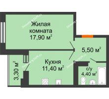1 комнатная квартира 39 м² в ЖК Вересаево, дом Литер 5/1
