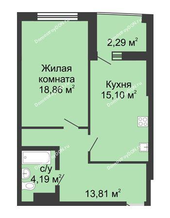 1 комнатная квартира 56,54 м² в ЖК Тихий Дон, дом № 3
